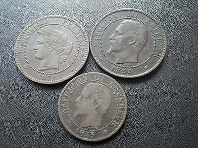 France 1854 MA & 1871 A 10 Centimes (aVF-gVF) & 1855 MA 5 Centimes (Fine)