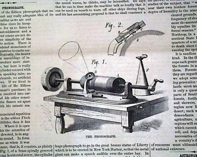 Historic THE PHONOGRAPH Thomas Edison Machine Invention w/ PRINT 1877 Newspaper