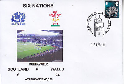 Scotland V Wales 6 Nations Rugby Envelope 12 Feb 2011