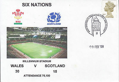 Wales V Scotland 6 Nations 9 Feb 2008 Rugby Envelope