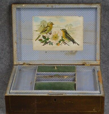 sewing box organizer wall paper compartments antique original 1800