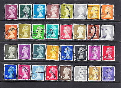 GB postage stamps - 32 x Used Machins Elliptical Pefs -collection duplicates