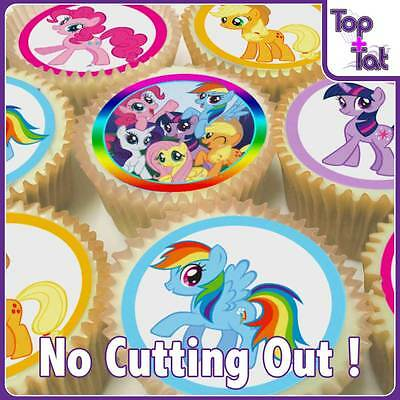 Pre-Cut 24 X My Little Pony Edible Party Cup Cake Paper Wafer Toppers Birthday