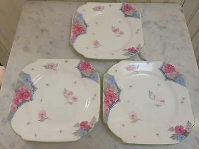 Vintage Shelley Art Deco China Tea Plates Hand Painted Set Of 3