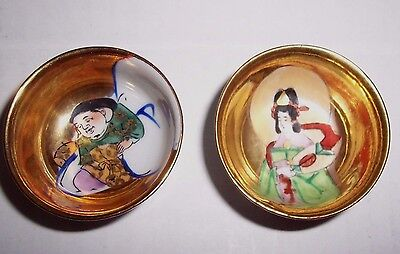2 Vintage Japanese Gold Sake Cups Kutani Ware Lucky Gods of Good Fortune