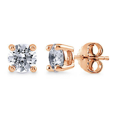 Rose Gold Flashed Silver Solitaire Earrings Made with Swarovski Zirconia 1.68 CT