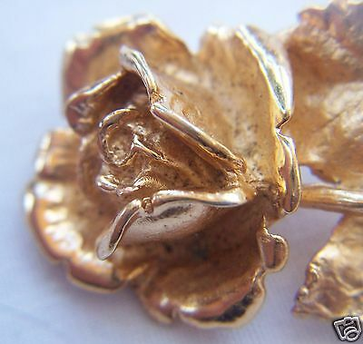 Napier Gold-washed Sterling Silver Tea Rose Pin Brooch Signed 2 Inches Long