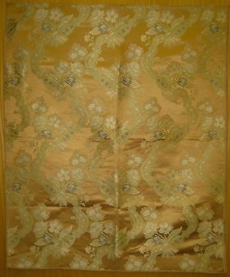 Beautiful Antique Early 20th C. French Silk Floral Jacquard Fabric (9268)