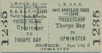 LMS (London/Southend Line) - Thorpe Bay to UPMINSTER railway ticket 1235