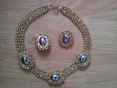 Womens 1980's Necklace and Earrings Costume Jewellery
