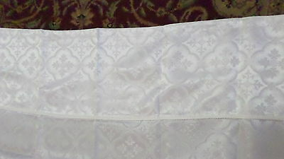 White Woven Shower Curtain w/ Attached Valance
