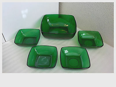 """5 Pc Vintage Forest Green Anchor Hocking Charm Bowls 7 1/2""""&4 3/4"""" Fruit Cereal"""