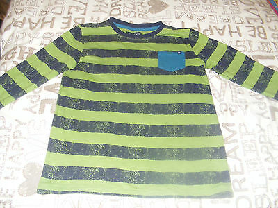 Boys Blue & Green Striped Long Sleeve Top, 9-10 Years
