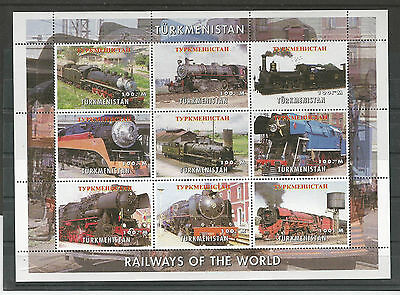 Turkmenistan 1990 - Railways of the world - Trenes del mundo -  sheet mnh