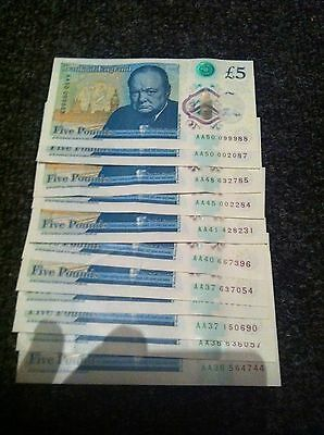 FIVE POUND NOTE £5 POLYMER PLASTIC AA36-AA50 x 11
