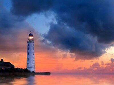 LIGHTHOUSE LED Lighted canvas art print Nautical picture lit home decor Sign