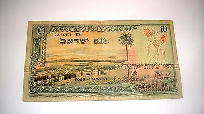 ISRAEL 10 POUNDS LIROT 1955  Serial Number black  F  (621951)