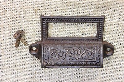 "Apothecary Bin Pull drawer handle 3 1/4"" vintage old card holder egg & dart"