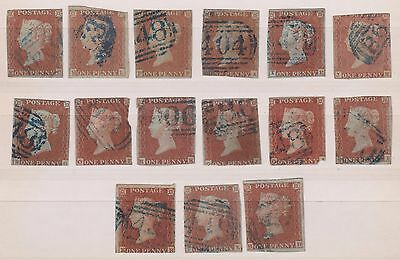 GB QV 1841 1d reds with blue cancellations (15 stamps)