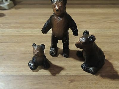 Vintage cast iron bears Standing Mama ,2 Cubs