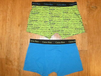 Calvin Klein 2 Pack Boys Stretch Cotton Graphic Boxer Trunks Size 12-14 Yrs NEW
