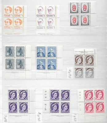 Canada - Mint Never Hinged - 15 Older Plate Blocks - Useful Lot -   See 2 Scans