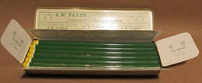 12 Vintage Unsharpened A. W. Faber 9612 Copying Ink Yellow Pencils Original Tin