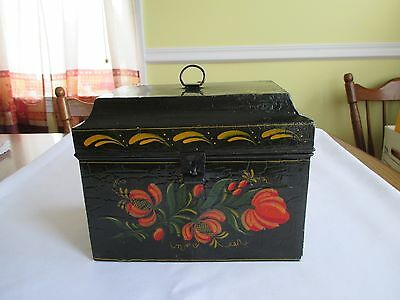 Vintage Colonial Tin Tole Painted Platform Top Document Box Signed 1967