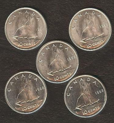 1968 Silver Canada 10 Cent. Lot Of 5 Coins.