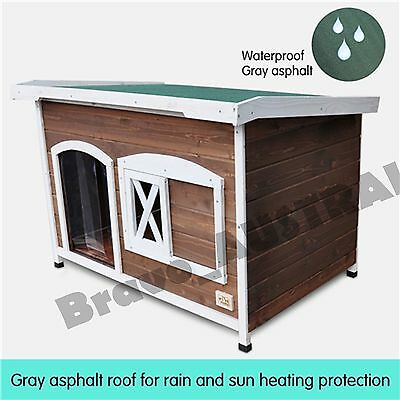 XXL Flat Roof Wooden Dog House Kennel Raised Floor Lift Up Weatherproof Roof NEW