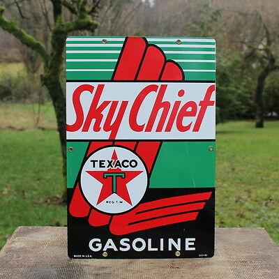 1990 Texaco Sky Chief Gasoline Porcelain Pump Plate Sign Gas Station Red Star