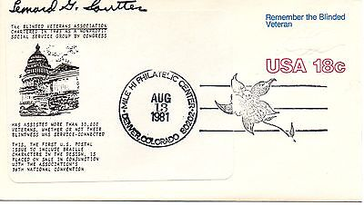 US FDC #U600 Blinded Veterans Unofficial, Sautter, Signed (6210)