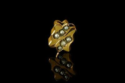 Antique Victorian Solid 10K Gold Seed Pearl Watch Chain Slide  (010317009)