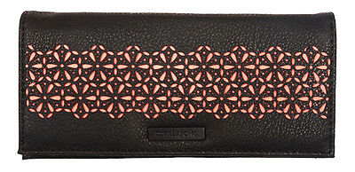 "New + Tag Billabong ""mayfair"" Ladies / Girls Tri-Fold Wallet / Purse Black Coral"