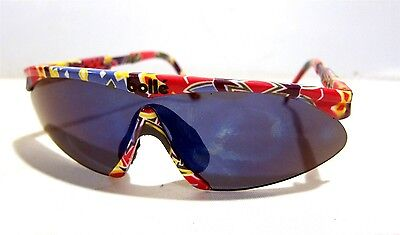 Vintage 1980s Bolle Microedge II Adjustable Sunglasses PSYCHEDELIC MULTI-COLOR