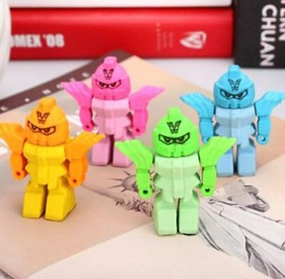 Removable Creative Robots Eraser Rubber Pencil Stationery Child Toy 1pc ☆