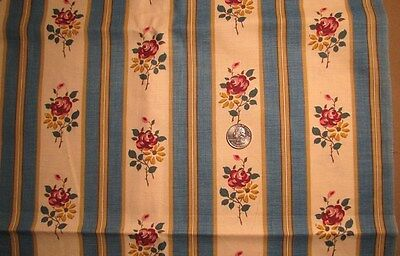 Vintage 1920's Cotton Drapery Fabric Blue and Cream Stripe With Roses