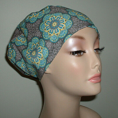 Kaleidoscope Medallion  Gray Teal OR Surgical European Scrub Hat CRNA CNOR CORT