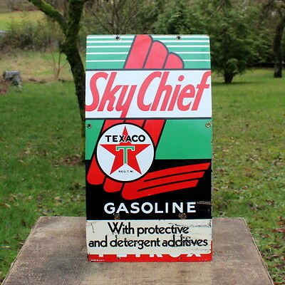 Vintage 1957 Texaco Sky Chief Gasoline Porcelain Pump Plate Sign Gas Station