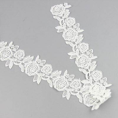 2Yds Embroidery Flower Lace Ribbon Trim Sewing Applique Wedding Motif DIY Craft