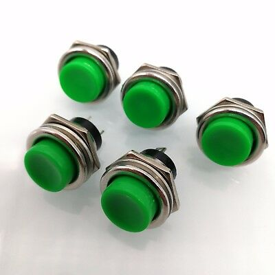 5 pcs Green DS-212 16mm 3A 125V Round Push Button Switch Lockless