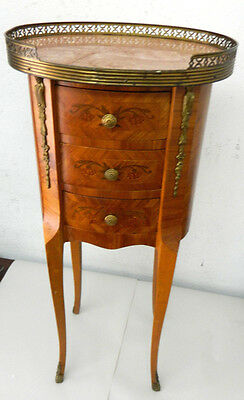 Antique Italian End / Side / Tea Table Wood Brass Inlay Marble / Stone Top