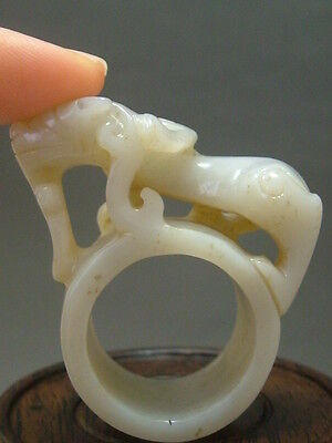 #1044 Antique Old Chinese Celadon Nephrite Jade Statue jade sculpture rings