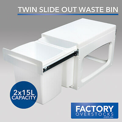 30L Twin Slide Out Waste Bin - Pull Out Kitchen Dual Compartment 2x15L