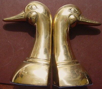 Vintage Brass Duck Head Bookends Set 2