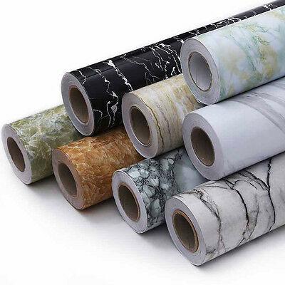 3.28ft 3D Wallpaper Cabinet Furniture Waterproof Marble Pattern Self-Adhesive