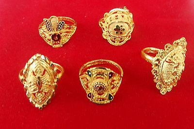 Bollywood Style Fashion Jewelry Set Indian Gold Plated Designer Rings Lot 5Pc r4