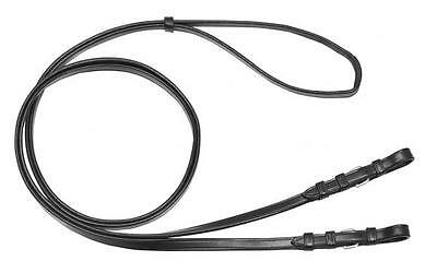 TOP BUSSE solibel Reins DOUBLE Bridle leather best black/Stainless steel 145cm