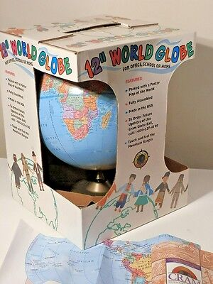 "New In Box Cram's 12"" World Globe On Stand Made In Usa With Map And Booklet"