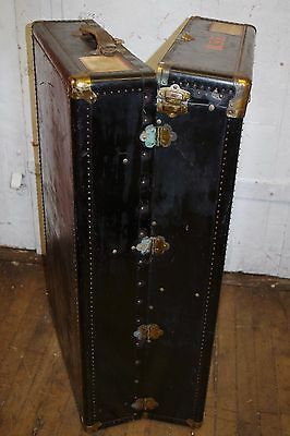 Wheary Antique Vintage Steamer Wardrobe Metal TRUNK Luggage Storage Chest